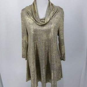 New Chelsea Theodore Medium Tunic Blouse Gold Cowl